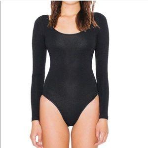 American Apparel Black Scoop Neck Bodysuit